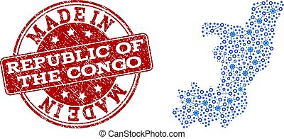 Collage Map of Republic of the Congo with System Links and Made In Grunge Stamp