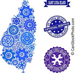 Collage Map of Saint Lucia Island with Gear Wheels and Grunge Stamps for Service