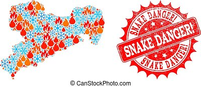 Collage Map of Saxony State of Flame and Snow and Snake Danger! Textured Stamp