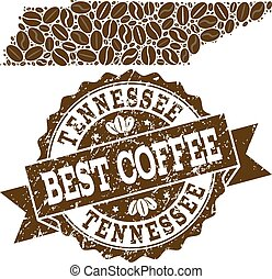 Collage Map of Tennessee State with Coffee Beans and Textured Seal