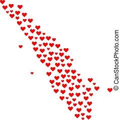 collage, mapa, sumatra, isla, valentine