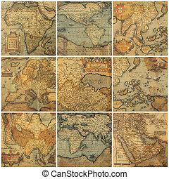 collage, mapas antiguos