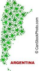 collage, mappa, foglie, argentina, marijuana