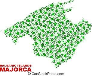 collage, mappa, foglie, maiorca, marijuana