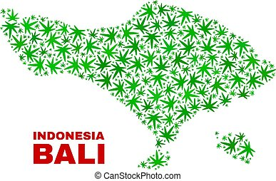 collage, mappa, foglie, marijuana, bali