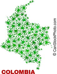 collage, mappa, foglie, marijuana, colombia