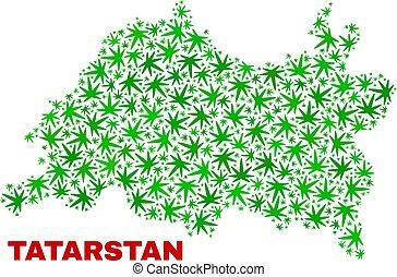 collage, mappa, foglie, marijuana, tatarstan