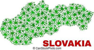 collage, mappa, foglie, slovacchia, marijuana
