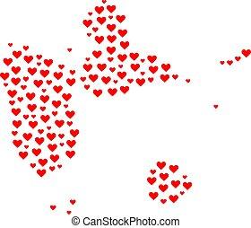 collage, mappa, guadalupa, amore