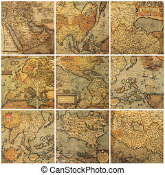 collage, mappe, vecchio