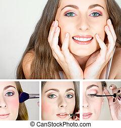 collage, maquillaje, en, hermoso, feliz, woman.