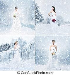 collage, mariées, hiver