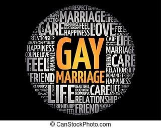 collage, mariage, mot, gay, nuage