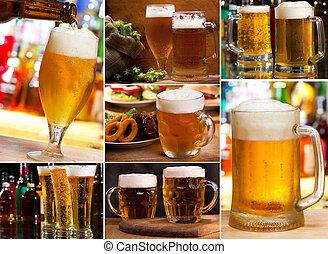 collage, med, öl glas