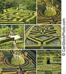 collage, med, geometrisk, italiensk, trädgårdar, toskana,...