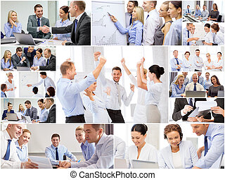 collage, med, många, affärsfolk, in, kontor