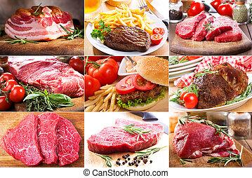 collage, med, olik, kött