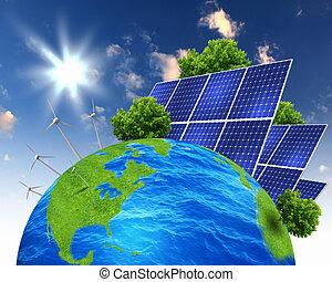 collage, med, sol, batterier