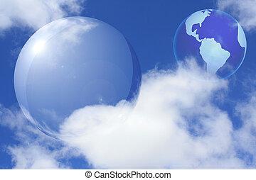 collage, med, transparent, glob, och, mull