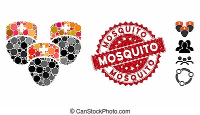 Collage Medical Staff Icon with Textured Mosquito Seal