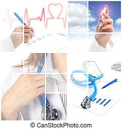 collage., medicinsk begreb, hen, hvid, baggrund.