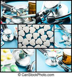 collage, medico, tema