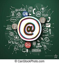 collage, medier, sort vægtavle, sociale, iconerne