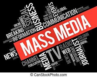 collage, medios, palabra, masa, nube