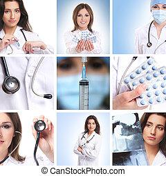 collage, medisch, werkmannen