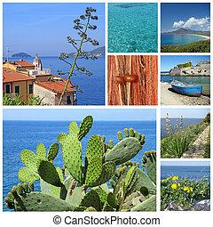 collage, mediterráneo, imágenes, marina, paisaje