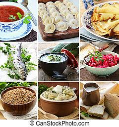 collage menu of Russian and Ukrainian food (dumplings, borsch, buckwheat, okroshka, herring)