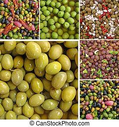 collage, met, olive, hapjes