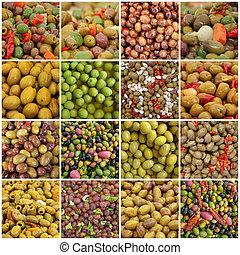 collage, met, olive, salades