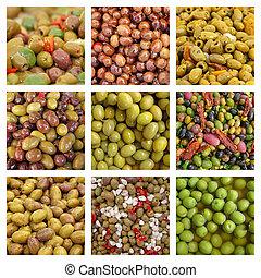collage, met, olive, voorafjes