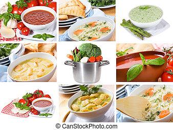 collage, met, soep