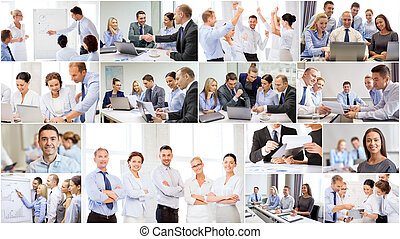 collage, met, velen, zakenlui, in, kantoor