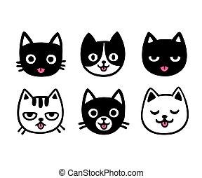 collage, mignon, chats, langue, dessin animé, dehors