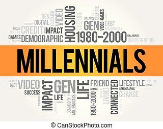 collage, millennials, palabra, nube