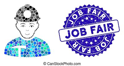 Collage Miner Icon with Textured Job Fair Stamp