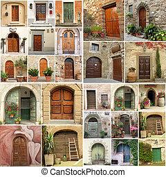 collage, mit, antikes , türen, in, italien