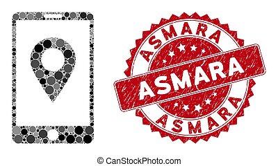Collage Mobile GPS with Grunge Asmara Seal