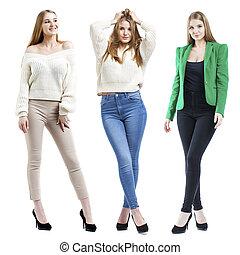 collage, modèles, blond, mode, trois