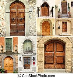 collage, moda, vecchio, italia, porte