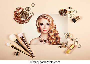 collage, mode, dam, tillbehör