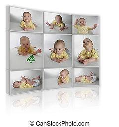 collage, molti, foto, fondo, bambino, tv, bianco