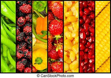 collage, molti, verdura, frutte