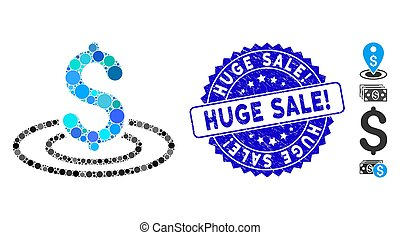 Collage Money Area Icon with Textured Huge Sale! Seal