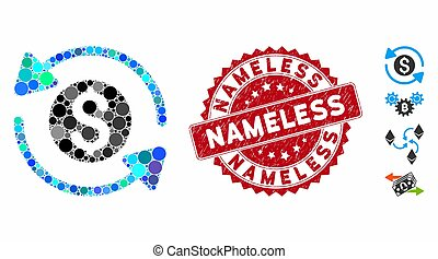 Mosaic money turnover icon and grunge stamp seal with Nameless text. Mosaic vector is formed from money turnover icon and with random spheric elements. Nameless seal uses red color,