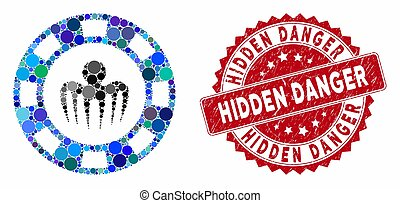 Collage Monster Casino Chip with Textured Hidden Danger Seal