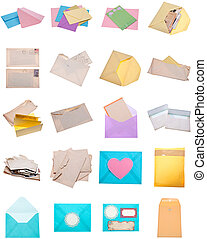 Collage Montage of Envelopes and Letters Modern and Vintage
